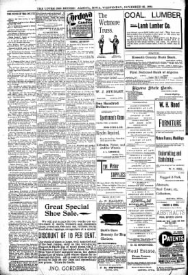 The Algona Upper Des Moines from Algona, Iowa on November 22, 1899 · Page 8