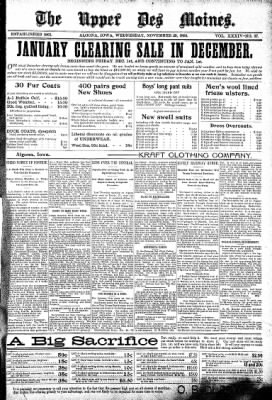 The Algona Upper Des Moines from Algona, Iowa on November 29, 1899 · Page 1
