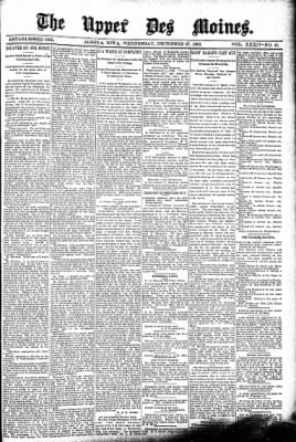 The Algona Upper Des Moines from Algona, Iowa on December 27, 1899 · Page 1