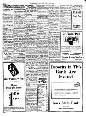 The Algona Upper Des Moines from Algona, Iowa on January 11, 1934 · Page 5