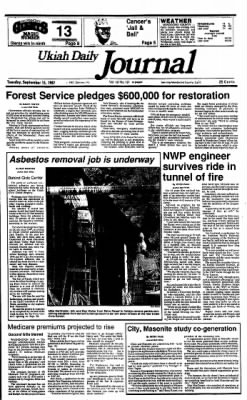 Ukiah Daily Journal from Ukiah, California on September 15, 1987 · Page 1