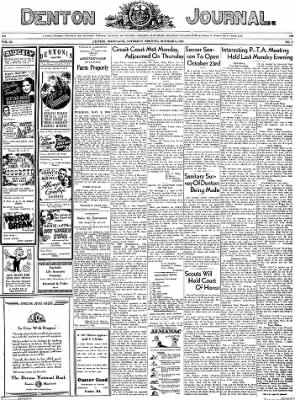 Denton Journal from Denton, Maryland on October 8, 1938 · Page 1