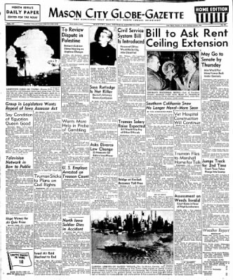 Globe-Gazette from Mason City, Iowa on January 12, 1949 · Page 1