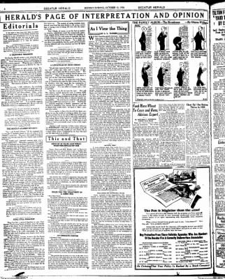 Decatur Evening Herald from Decatur, Illinois on October 13, 1930 · Page 6