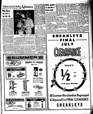 Kossuth County Advance from Algona, Iowa on July 21, 1966 · Page 9