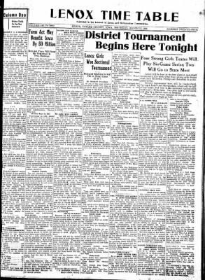 Lenox Time Table from Lenox, Iowa on March 12, 1936 · Page 1