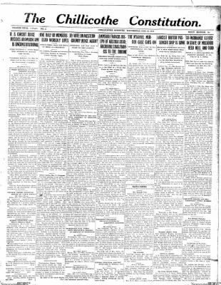 The Chillicothe Constitution-Tribune from Chillicothe, Missouri on November 22, 1916 · Page 1