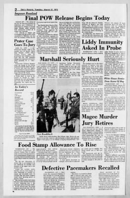 York Daily Record from York, Pennsylvania on March 27, 1973