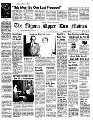 The Algona Upper Des Moines from Algona, Iowa on February 17, 1966 · Page 1