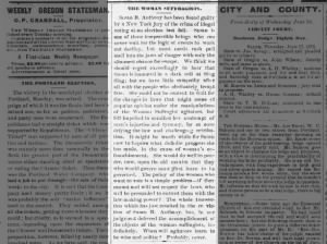 Editorial voicing opinion about Susan B. Anthony's trial for illegal voting