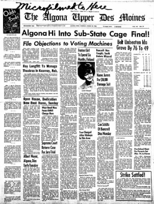 The Algona Upper Des Moines from Algona, Iowa on March 10, 1966 · Page 1