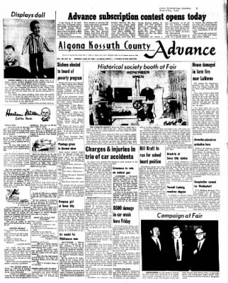 Kossuth County Advance from Algona, Iowa on August 29, 1966 · Page 1