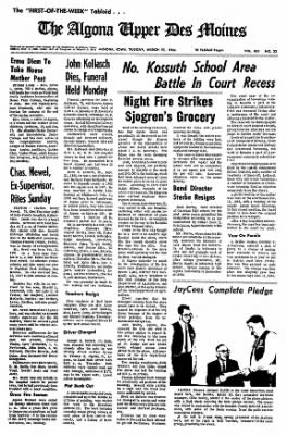 The Algona Upper Des Moines from Algona, Iowa on March 22, 1966 · Page 1