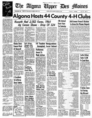 The Algona Upper Des Moines from Algona, Iowa on March 31, 1966 · Page 1