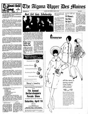 The Algona Upper Des Moines from Algona, Iowa on March 31, 1966 · Page 8