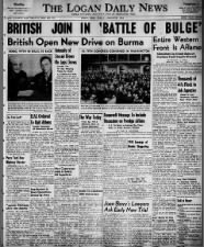 Headlines in January 1945 announce the British army has joined the Battle of the Bulge