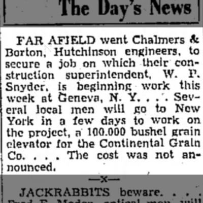 C&B, NY Continental Grain - FAR AFIELD went Chalmers & Borton, Hutchinson...