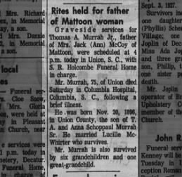 Thomas A. Murrah, Jr. - 1971 obit.