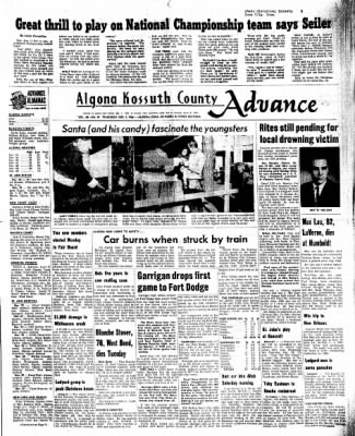 Kossuth County Advance from Algona, Iowa on December 1, 1966 · Page 1