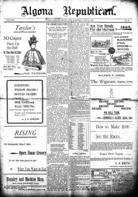 The Algona Republican from Algona, Iowa on June 26, 1895 · Page 1