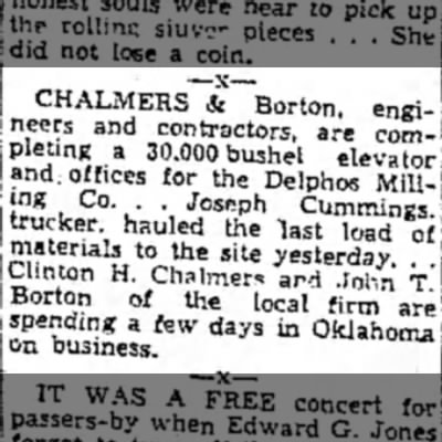 Delphos, C&B - | Borton of spending a fs on business. CHALMERS...