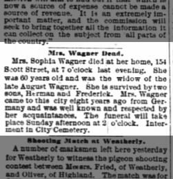 Sophia Wagner Widow Of Late August Only 2 Sons
