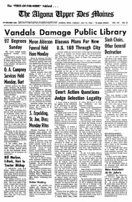 The Algona Upper Des Moines from Algona, Iowa on July 12, 1966 · Page 1