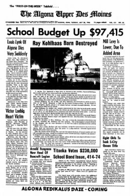 The Algona Upper Des Moines from Algona, Iowa on July 26, 1966 · Page 1