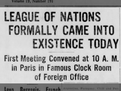 Clip of the Day: First Meeting of the League of Nations Held in Paris