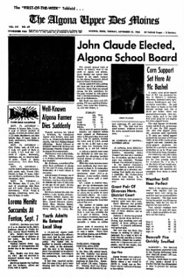 The Algona Upper Des Moines from Algona, Iowa on September 13, 1966 · Page 1