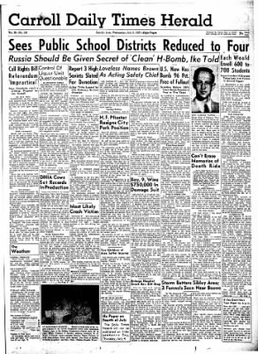 Carrol Daily Times Herald from Carroll, Iowa on July 3, 1957 · Page 1