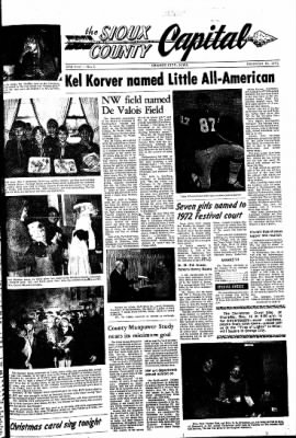 The Sioux County Capital from Orange City, Iowa on December 16, 1971 · Page 1