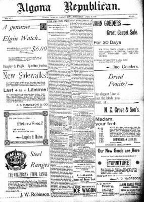 The Algona Republican from Algona, Iowa on April 15, 1896 · Page 1