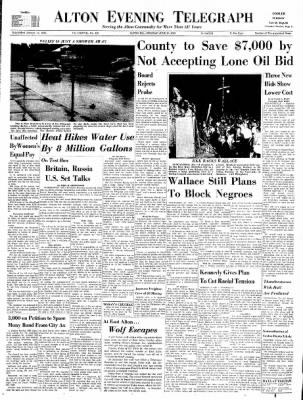 Alton Evening Telegraph from Alton, Illinois on June 10, 1963 · Page 1