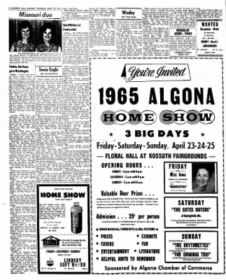Kossuth County Advance from Algona, Iowa on April 22, 1965 · Page 10
