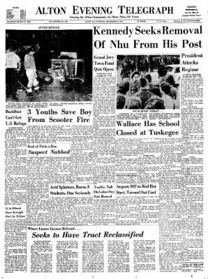 Alton Evening Telegraph from Alton, Illinois on September 3, 1963 · Page 1