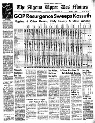 The Algona Upper Des Moines from Algona, Iowa on November 10, 1966 · Page 1