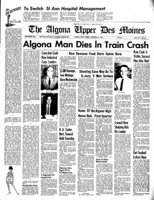 The Algona Upper Des Moines from Algona, Iowa on November 15, 1966 · Page 1