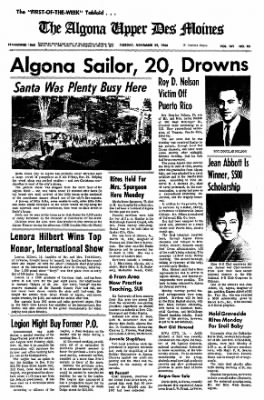 The Algona Upper Des Moines from Algona, Iowa on November 29, 1966 · Page 1