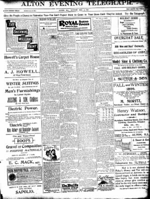 Alton Evening Telegraph from Alton, Illinois on December 19, 1898 · Page 1