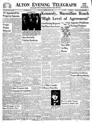 Alton Evening Telegraph from Alton, Illinois on April 8, 1961 · Page 1