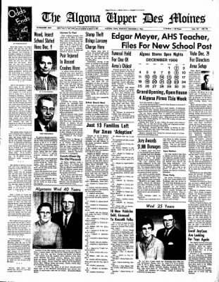 The Algona Upper Des Moines from Algona, Iowa on December 8, 1966 · Page 1