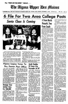 The Algona Upper Des Moines from Algona, Iowa on December 13, 1966 · Page 1