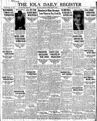 Iola Daily Register And Evening News from Iola, Kansas on March 28, 1927 · Page 1