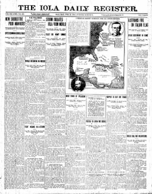 Iola Daily Register And Evening News from Iola, Kansas on February 23, 1915 · Page 1