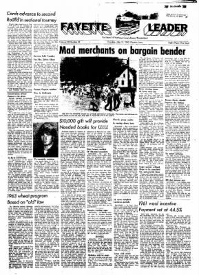 Fayette County Leader from Fayette, Iowa on July 12, 1962 · Page 1