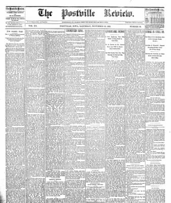 The Postville Review from Postville, Iowa on November 19, 1892 · Page 1