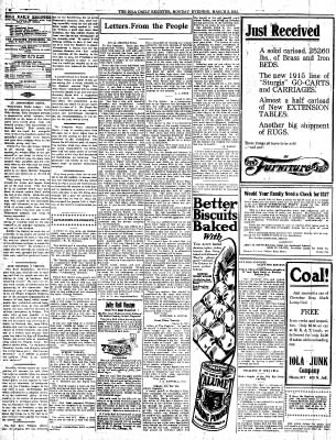 The Iola Register from Iola, Kansas on March 8, 1915 · Page 4
