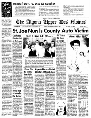 The Algona Upper Des Moines from Algona, Iowa on January 5, 1967 · Page 1