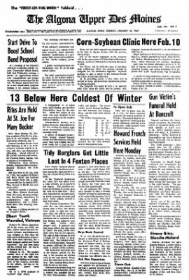 The Algona Upper Des Moines from Algona, Iowa on January 10, 1967 · Page 1